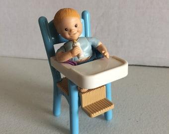 Vintage Fisher Price Loving family dollhouse baby,  Fisher Price Loving Family baby high chair, Loving Family high chair, Loving family baby