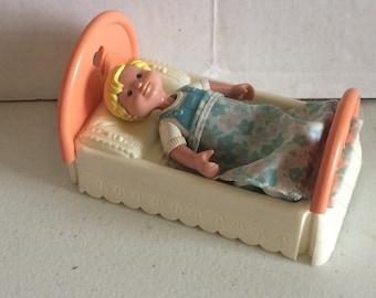 Vintage Fisher Price Loving family dollhouse bed,  Fisher Price Loving Family blonde brother boy