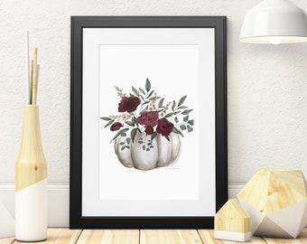Fall floral pumpkin watercolor and ink print