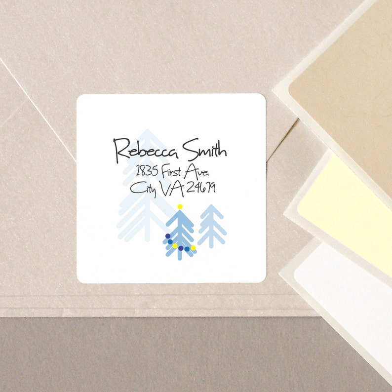 return address Christmas label stickers contemporary minimalist Christmas Tree BLUE personalized square 20 medium 2 address envelope seals
