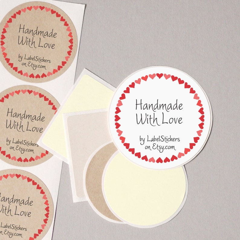296adcd36f698 your shop name Handmade With Love label stickers Etsy supplies red hearts  personalized round 12 large 2.5