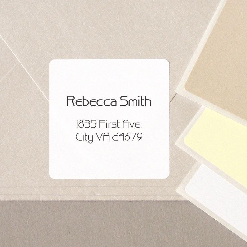minimalist GEOMETRIC font return address label stickers modern personalized  square 20 medium 2
