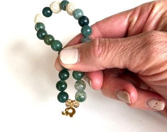 Moss Agate and Lava Aromatherapy Bracelet. Mala Bracelet. Stretchy Bracelet.