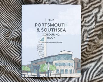 Portsmouth & Southsea Colouring Book, 80-page colouring book for grownups, Hampshire UK, mindfulness