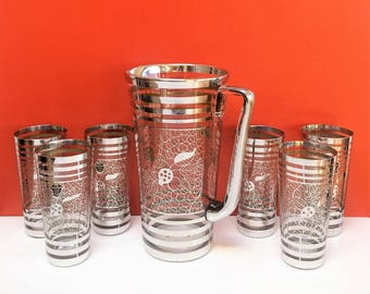Saint Graal Sterling Silver Lace Leaves Ladybug Pitcher and Water Tumblers