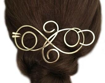 Large Hair Barrette, Brass Chignon Holder, Hair Bun Holder, Gold Hair Fork, U Shaped Hair Pin, Long Hair Slide, Metal Hair Clip, Boho