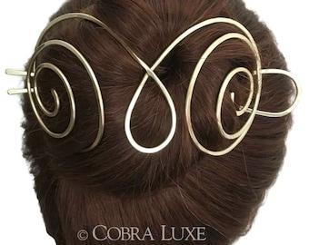 Brass Hair Bun Holder Gold Long Hair Holder U Shaped Hair Fork Chignon Pin Gold Hair Slide Gold Hair Pin Long Hair Accessory, Gift Women