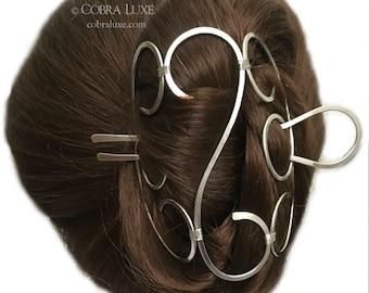 Folding Hair Bun Holder, Nickel Silver Hair Cage, U Shaped Hair Fork, Long Hair Accessory, Silver Hair Clasp, Gift Women