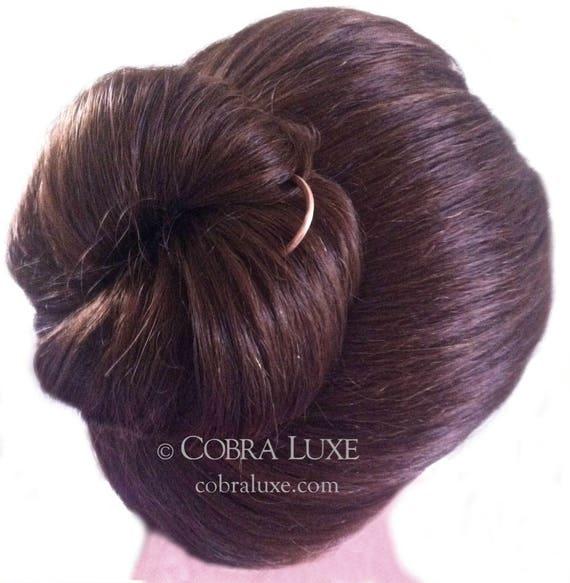 prix plus bas avec nouveaux produits pour dernières tendances Cheveux ondulés fourche cheveux épais long chignon porte en laiton poids  lourd U en forme de cheveux épingle cheveux or Slide cheveux longs  accessoire ...