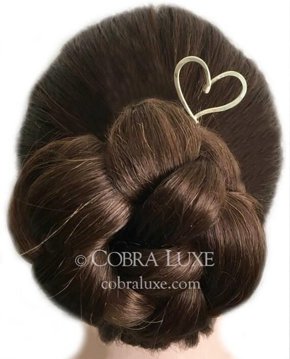 Love Heart Hair Stick Brass Heart Hair Pin Gold Hair Etsy