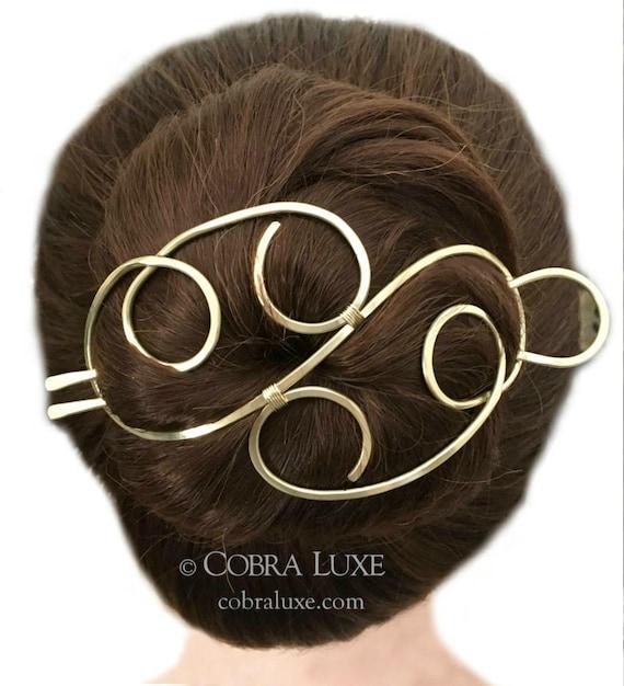Cheveux élégant chignon titulaire, Barrette à cheveux en laiton, cheveux d'or fourche métal barrette laiton pince à cheveux, accessoire de cheveux longs, cadeau pour les femmes