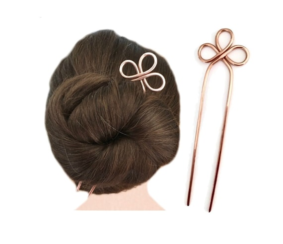 MEDIUM or THICK HAIR Metal Hair Slide Celtic Trinity Hair Stick Boho Indie Hair Pin, Hair Fork Copper Hair Bun Holder