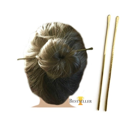 Minimalist Hair Stick Brass Chopstick Chignon Hair Bun Etsy
