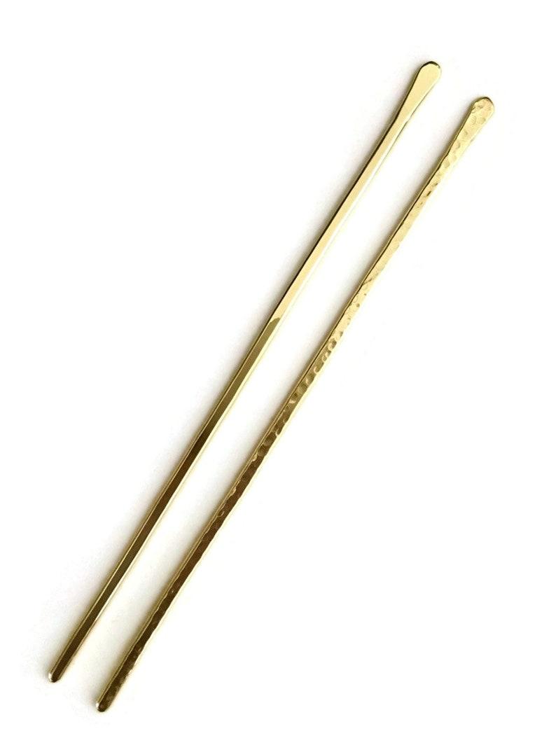 Metal Hair Slide Long Hair Pin Metal Hair Bun Holder 2 Brass Hair Sticks Minimalist Hair Jewellery Gold Hair Pins