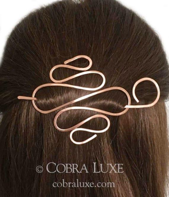 Copper Hair Barrette Expandable Rose Gold Hair Bun Holder Metal Long Hair Holder