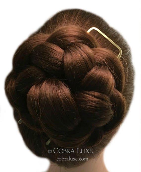 Square End Hair Fork Brass Hair Pin Hair Bun Holder Stick Etsy