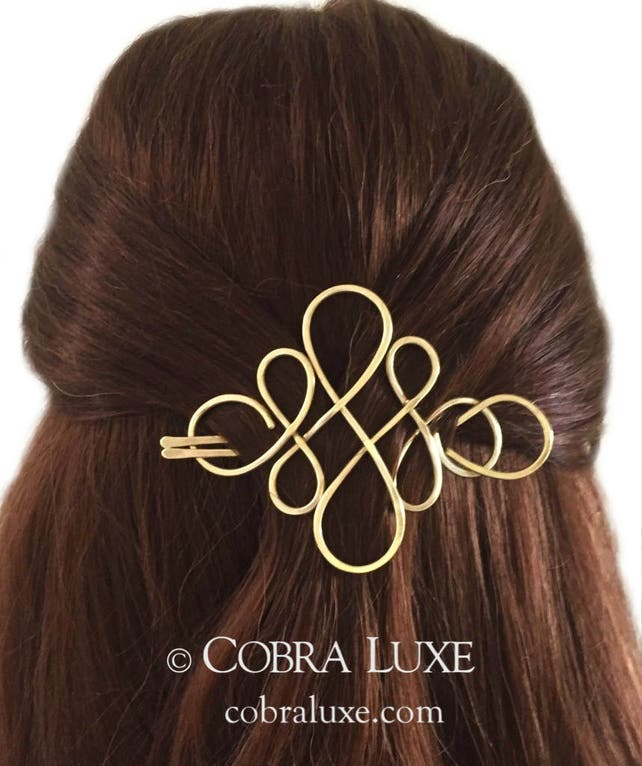 Hair Barrette Brass Celtic Diamond Bun Holder U Shaped Hair Etsy