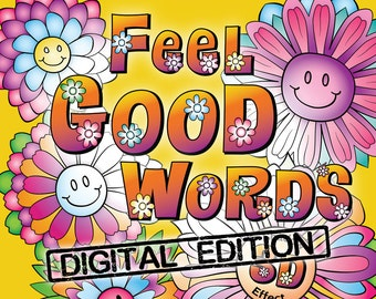 """Printable PDF of """"OrnaMENTALs Feel Good Words"""" All-Ages Coloring Book with 30 Positive, Uplifting Feel Good Words to Color and Bring Cheer"""