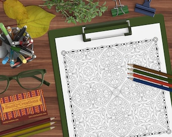 """Four-Leaf Clover Coloring Page - """"Lucky Charm """" OrnaMENTALs #0045 PDF - Hand-Crafted Coloring Pattern"""