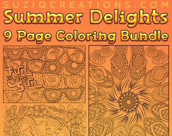Summer Delights Coloring Bundle of 9 OrnaMENTALs™ Coloring Pages to Celebrate Summer