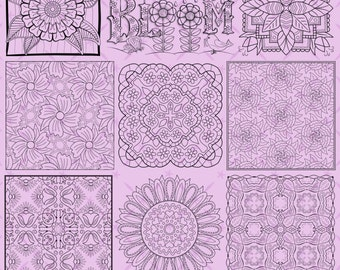 OrnaMENTALs™ Flowers for Mom Coloring Bundle of 12 Floral Coloring Pages
