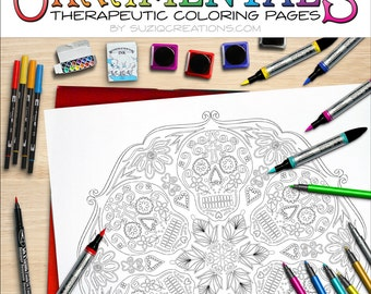 Sugar Skulls Mandala Coloring Page OrnaMENTALs #0028 PDF