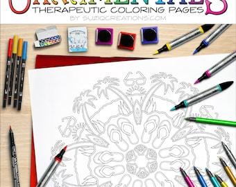 Day at the Beach Mandala Coloring Page OrnaMENTALs #0020 PDF