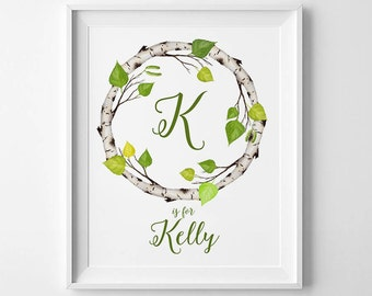 Custom Monogram Art Printable, wreath monogram print, name printable, home decor, nursery wall art, gift print, custom name print, woodland