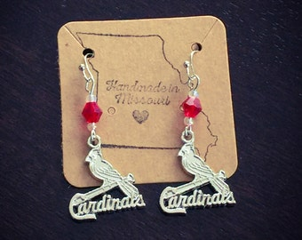 Silver cardinals earrings