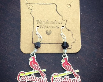Cardinals logo earrings with black bead