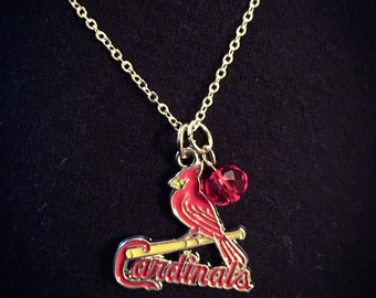 Cardinals logo necklace with red or white bead