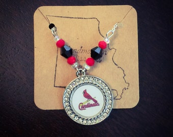 Rhinestone Cardinals beaded necklace