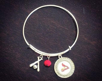 Rhinestone Cardinals expandable bracelet