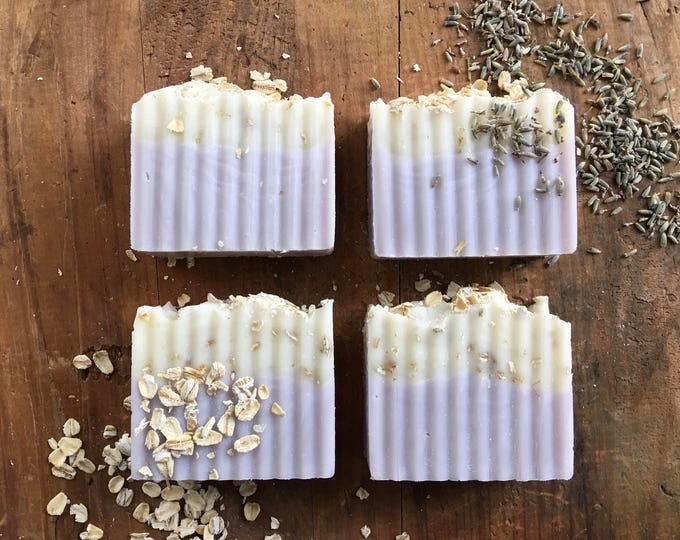 Lavender Soap with OATMEAL Exfoliant - 5 oz Bar, Cold Process, Two Toned, Moisturizing, Bath Gift, Spa Gift, Handmade Gift, Exfoliating Soap