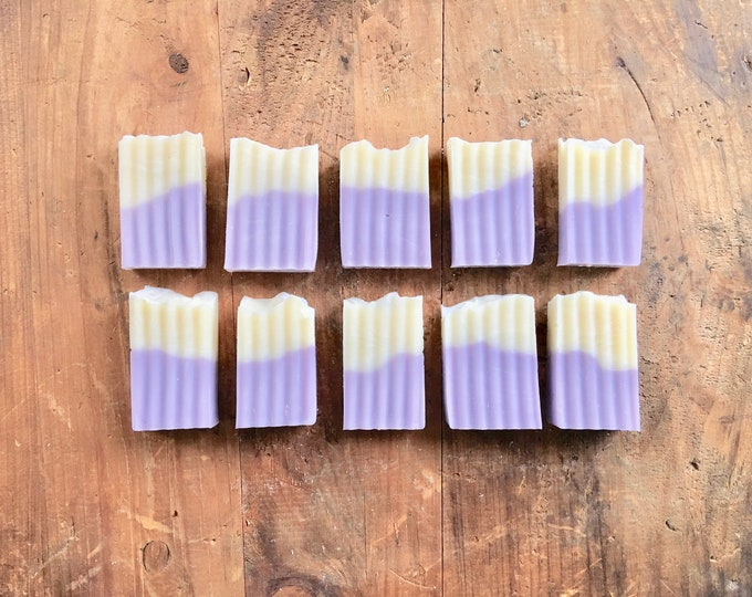 10 MINI Guest Size SOAP BARS in Muslin Bags - Lavender Soap, Baby/Wedding/Anniversary Favors, Thank you gifts, Soap Favors, Cold Process