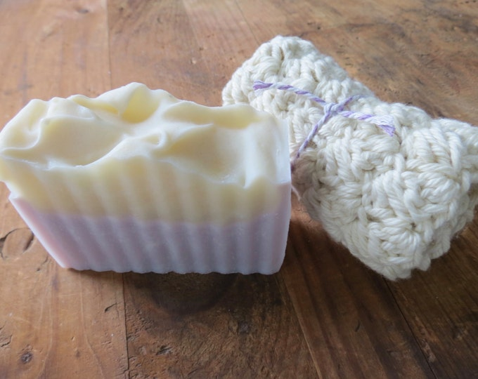 Bath Gift Set - Homemade Lavender SOAP & WASHCLOTH, Relaxation Gift Set, Thank You Gift,  Hostess or Shower Gift, Spa Kit, Party Favors, Spa