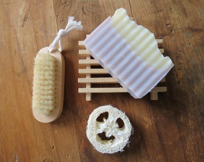 Bath Gift Set - Lavender Soap, Wood Soap Dish, Natural Nail Brush, Loofah - Spa Kit, Aromatherapy, Hostess, Shower or Thank You Gift, Favors