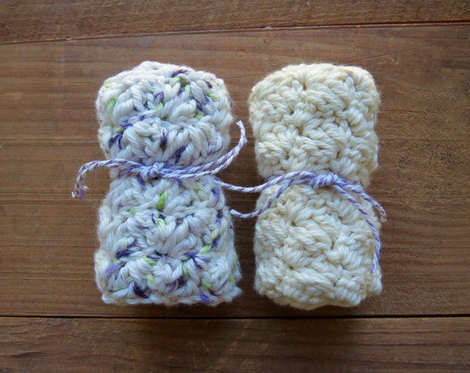 """Crochet Washcloths - Set of 2, Handmade Washcloth, 100% Cotton, Natural Color, approximately 7"""" Square"""