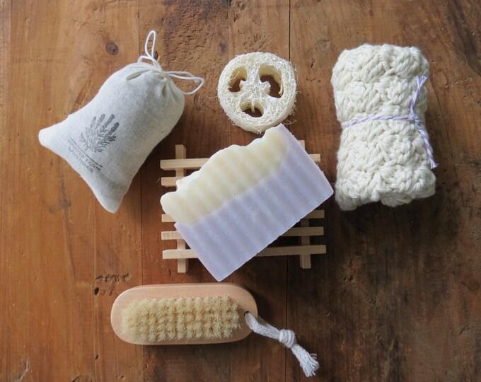 Bath Gift Set - Lavender Soap, Loofah, Wood Soap Dish, Washcloth, Nail Brush, Lavender Sachet -Aromatherapy, Hostess, Thank You, Spa, Favors