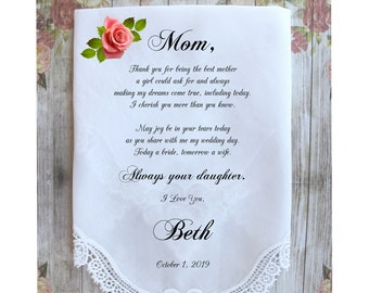 Mother of the Bride Handkerchief-Wedding Hankerchief-PRINTED-CUSTOMIZED-Wedding Hankies-Mother of the Bride Gift-LS11ChoCAC[A1B]