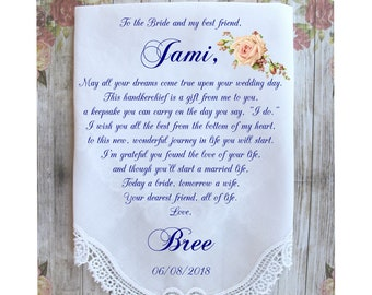 Friend of the Bride-Best friend-Wedding Hankerchief-GIft for Bride-PRINTED-CUSTOMIZED-Weddings-Something blue-Bride gifts from-ChoCAC[A61]