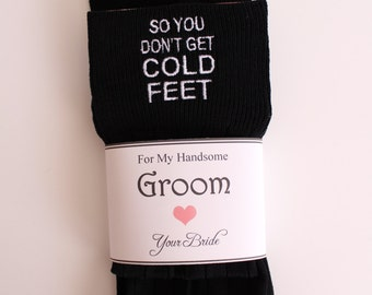 So you don't get cold feet groom's socks, Socks label included. Groom Wedding Gifts. embroidered Socks. Personalized Cold Foot socks F2LB1