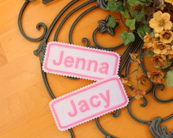 Set of 2 Custom IRON-ON Name patch, 5x2 inches, Jagged edging, name label,  Monogrammed Personalised name tag, embroidered name patch F2