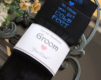 Cold feet socks, in case you get cold feet, cold foot socks, socks label, for my handsome groom, love your bride, groom wedding gift. F21LB1