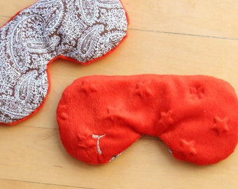 Flax Eye Pillow, Monogram Eye Mask, Rice Pillow, natural heat pad,Migraine,Stress Relief, cold pack, gift for Mom, Mother's Day gift, red