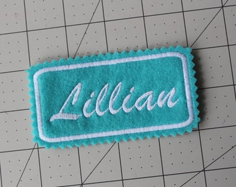 Custom Felt Iron-on Name patch, 4x2 inches, Monogrammed Personalised name tag, embroidered name patch F5