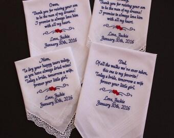 Set of 4 Wedding Hankies. Parents Handkerchiefs. Custom Embroidered Handkerchief. Parents of the Bride Gift. Personalized. LS0MS1 F23