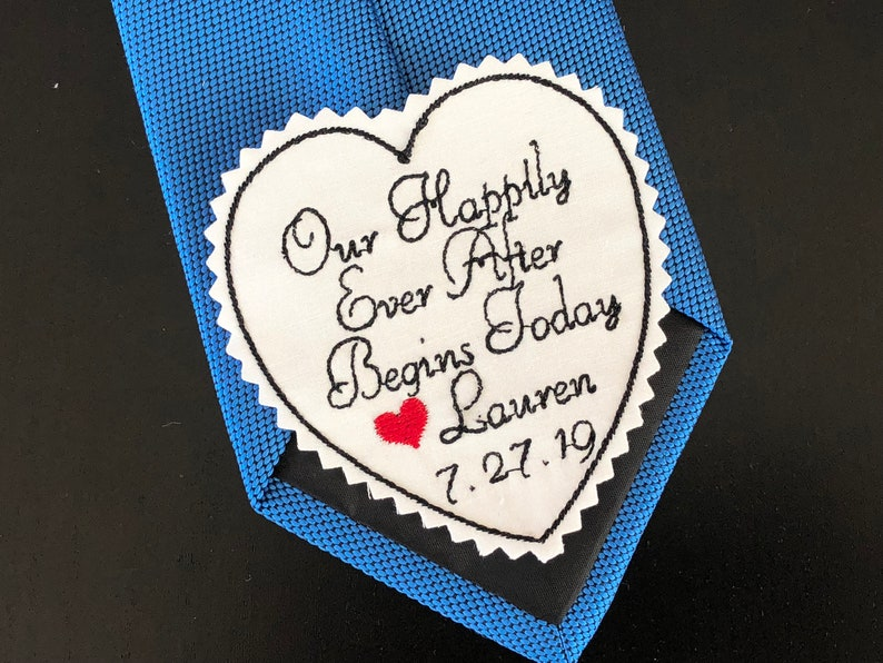 Groom Wedding Tie Patch Personalized, Custom Embroidery Husband Suit Patch,  Heart shaped fabric label, Our Happily Ever After, Iron on