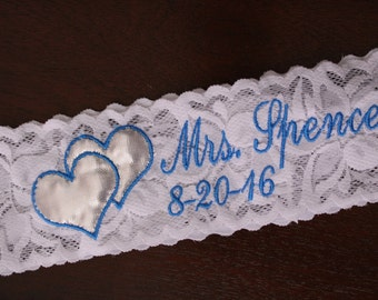 Monogram Garters, Interwined Hearts. Lace Garters, Standard Size, Plus Size, Petite Size Garters. wedding, mrs, You're Next garters. GS1F11