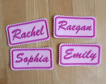 Set of 4 Custom Felt Iron-on Name patch, 4x2 inches, Monogrammed Personalised name tag, embroidered name patch F39